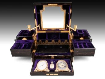 Stunning Asprey Jewellery Box housed inside a brown leather case