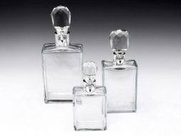 Set of Three Art Deco Lockable Decanters