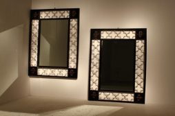 Pair Of Ebonised And Gilded Metal Mirrors
