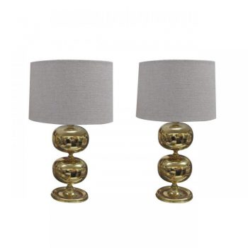 Bulbous Pair of Brass Lamps