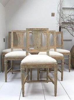 Set of Six Swedish 18thC Lindome Dining Chairs