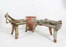 Unique Rustic Weathered Elm Root Benches - POA