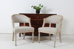Pair of Antique Swedish 19th Century Barrel Back Armchairs