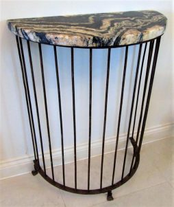 A Demi Lune Wrought Iron Console Table