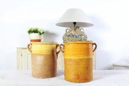 Two Large Italian Glazed 19th Century Sardine Pots