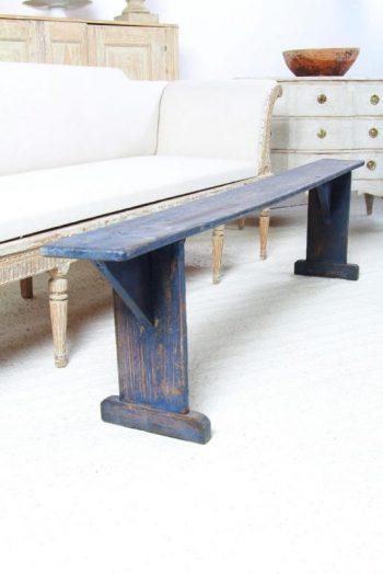 Charming Danish Bench in Striking Blue Paint