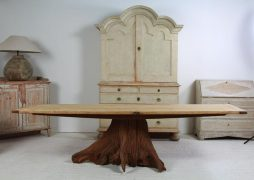 Impressive and Unique Oak Tree Butt Dining Table