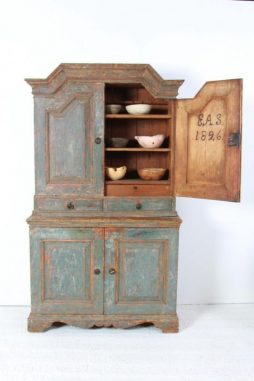 Antique Swedish 19th Century Cabinet in Original Blue Paint