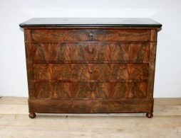 Antique French Marble topped Mahogany Commode