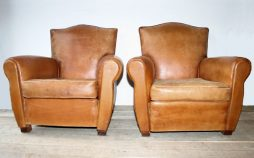Antique Pair French Leather Club Chairs
