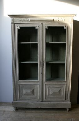 Antique French Painted 2 Door Bookcase