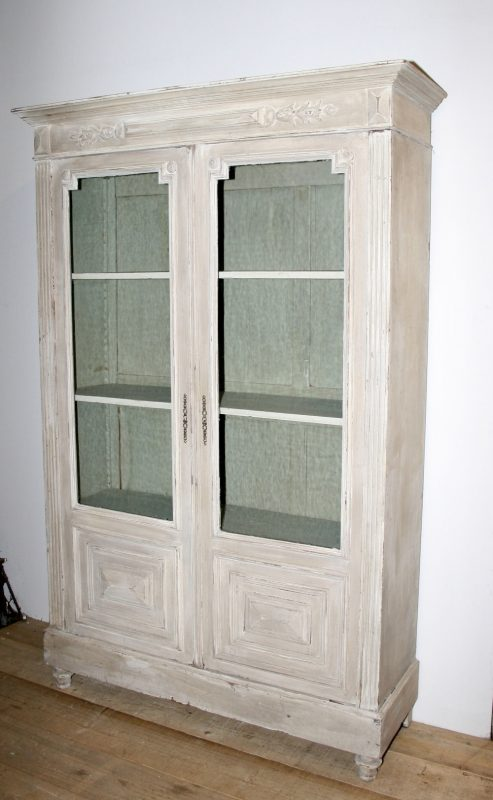 Antique French Painted 2 Door Bookcase Interior