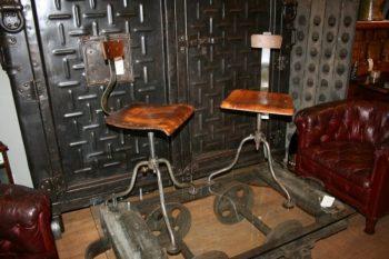 Pair of Vintage Industrial Factory Stools