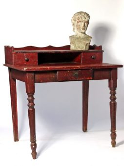 Small Antique French Desk in 'Bullsblood' Red Paint
