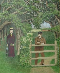 Naive Watercolour and Gouache of a Courting Couple
