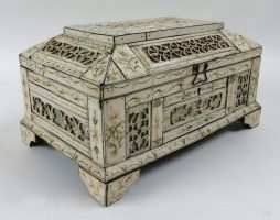 Russian Bone Veneered Folk Art Casket Probably from Kholmogory, Archkangelsk, Russia