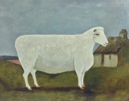 Naive Folk Art Oil Painting of a Sheep in a Landscape