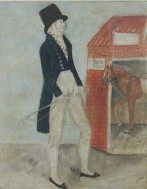 Naive Folk Art Watercolour of a Man at his Stable