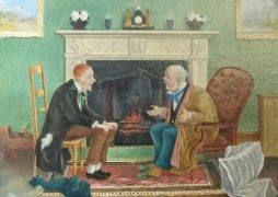 Pair of Naive Oils of Couples Chatting by the Fireside dated 1843
