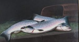 Still Life of Three Salmon Beside a Fish Creel, Oil on Board, by James Russell