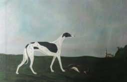 Naive Folk Art Oil Painting, Greyhound or Lurcher and Hare