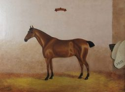 19th Century Oil on Canvas, Provincial Folk Art 'Maldon' Chestnut Horse in his Stable, 1890