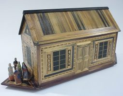 German Folk Art Straw Work Noah's Ark with Figures and Animals, Late 19th Century