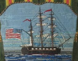 19th Century Sailors Folk Art Woolwork Picture