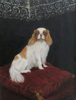 A Pampered Spaniel with attitude, Oil on Canvas Painting dated 1904