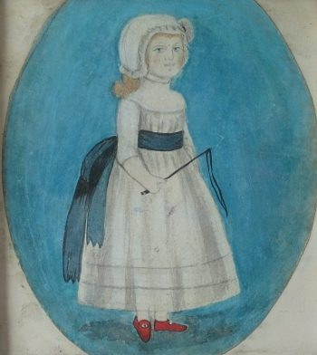 Naive Folk Art Watercolour of a Girl in a Bonnet with Whip