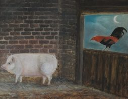 Naive Folk Art Oil Painting of a Pig and Cockerel in a Barn
