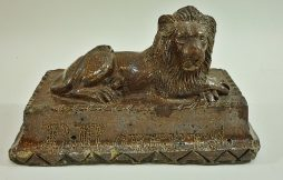Antique English 19th Century  Saltglaze Stoneware Lion Ornament