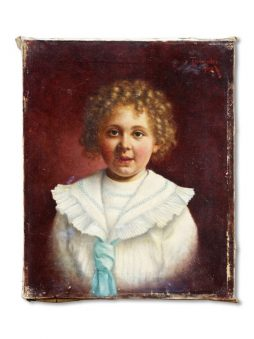 Antique Signed Oil Painting of Young Girl in Sailorsuit