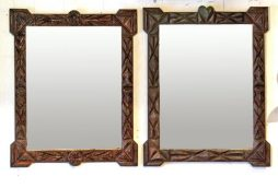 Antique Pair of 'Tramp Art' Framed Mirrors from Alsace