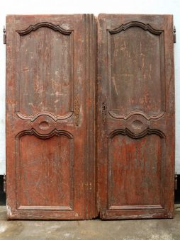 Antique Pair of 'Decadent' Painted Armoire Doors from France