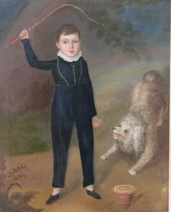 19th Century Oil on Canvas Boy with his Poodle Spinning Top and Whip English Provincial Folk Art