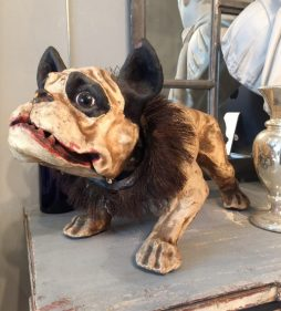 Antique 19th Century Victorian Papier Mache Bulldog