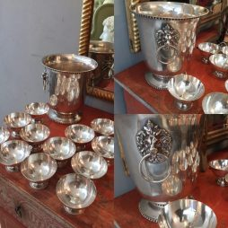 20th C Silver Plated Champagne Bucket with 12 Coups