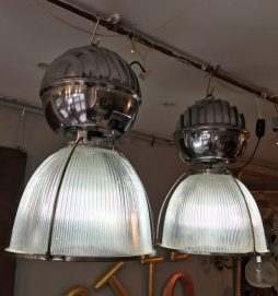 Mid 20th C Holophane Glass Shade Pendant Lights - POA