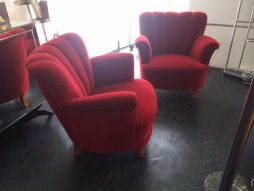 Pair Mid-Century Red Chairs