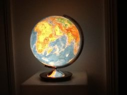 Vintage Globe Light on Chrome and Wood Base