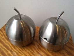 Pair of Vintage Apple Condiment Pots