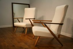Pair French 1950s Recliner Chairs