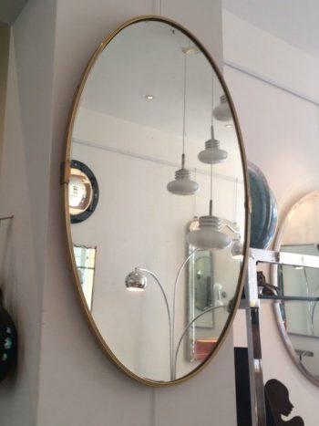 Vintage Oval Brass Mirror