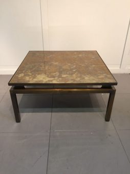 Low Square Coffee Table in Patinated Bronze