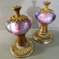 Pair of French 19th Century Amethyst Crystal Glass Door Knobs