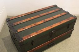 Medium Sized Antique Green Black Trunk