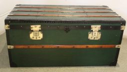 Medium Sized Antique Green Trunk with Brass Detailing
