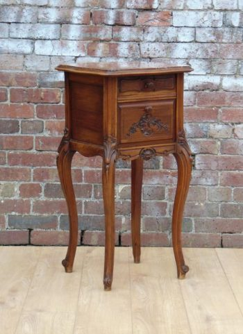 Antique 19th Century French Walnut Marble Top Bedside Cabinet