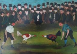 Naive Oil on Canvas: Village Cockfight in the Countryside